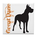 Grunge Great Dane Silhouette Tile Coaster