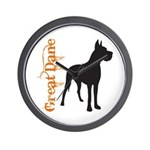 Grunge Great Dane Silhouette Wall Clock