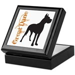 Grunge Great Dane Silhouette Keepsake Box