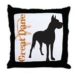Grunge Great Dane Silhouette Throw Pillow