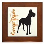 Grunge Great Dane Silhouette Framed Tile