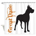 Grunge Great Dane Silhouette Shower Curtain