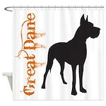 Grunge Great Dane Silhouette Shower Curtain