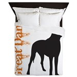 Grunge Great Dane Silhouette Queen Duvet