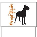 Grunge Great Dane Silhouette Yard Sign