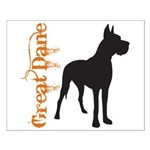 Grunge Great Dane Silhouette Small Poster