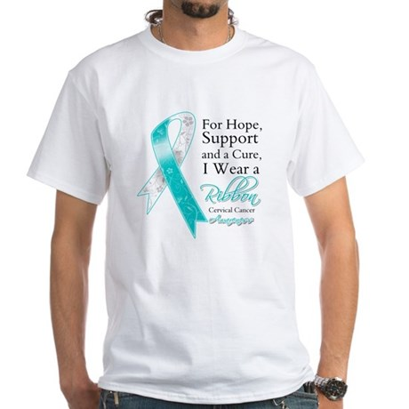 Cervical Cancer Ribbon White T-Shirt