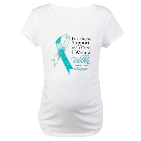 Cervical Cancer Ribbon Maternity T-Shirt