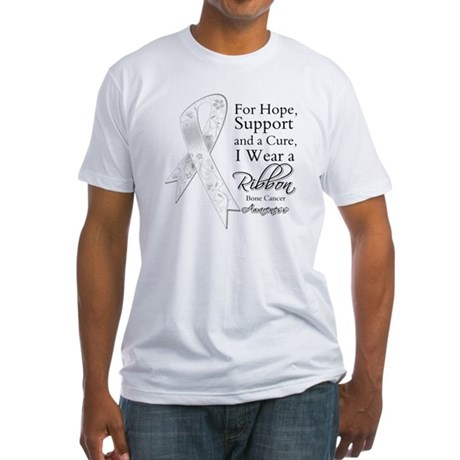 Bone Cancer Ribbon Fitted T-Shirt