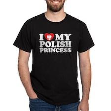 I Love My Polish Princess Black T-Shirt