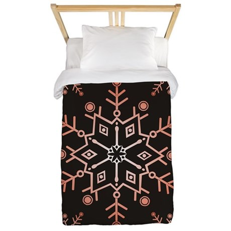 Snowflake Black Twin Duvet