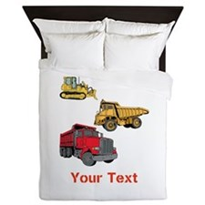 Works Site Vehicles and Text Queen Duvet