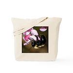 Bee dangling from Judas-tree flowers Tote Bag