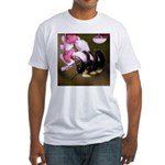 Bee dangling from Judas-tree flowers Fitted T-Shir