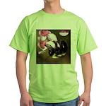 Bee dangling from Judas-tree flowers Green T-Shirt