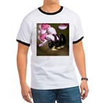Bee dangling from Judas-tree flowers Ringer T