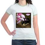 Bee dangling from Judas-tree flowers Jr. Ringer T-