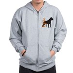 Grunge Cane Corso Silhouette Zip Hoodie