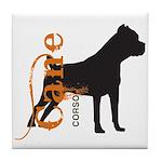 Grunge Cane Corso Silhouette Tile Coaster
