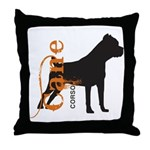Grunge Cane Corso Silhouette Throw Pillow