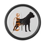 Grunge Cane Corso Silhouette Large Wall Clock