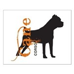 Grunge Cane Corso Silhouette Small Poster