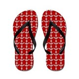 Red Sporty Nautical Flip Flops