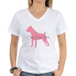 Diamonds Cane Corso Diva Women's V-Neck T-Shirt