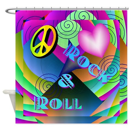 Peace Love Rock Roll Shower Curtain Use Code FREECART At Checkout