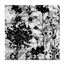 Black & White Floral Tile Coaster