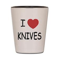 I heart knives Shot Glass