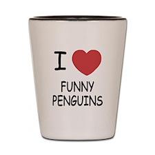I heart funny penguins Shot Glass