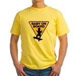 Baby On Board (Skateboard) Yellow T-Shirt