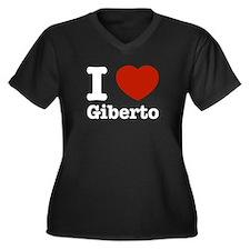 I love Giberto Women's Plus Size V-Neck Dark T-Shi