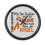 Angel 2 Leukemia Large Wall Clock