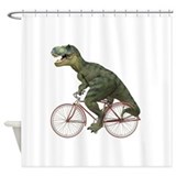 Cycling Tyrannosaurus Rex Shower Curtain