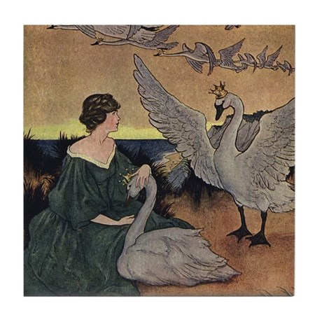 Winter's Wild Swans Tile Coaster