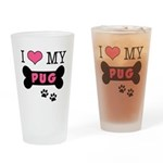 I Love My Pug Drinking Glass