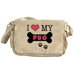 I Love My Pug Messenger Bag