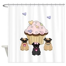 Pug Dog Cupcakes Shower Curtain