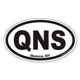 Queens New York QNS Euro Oval Decal