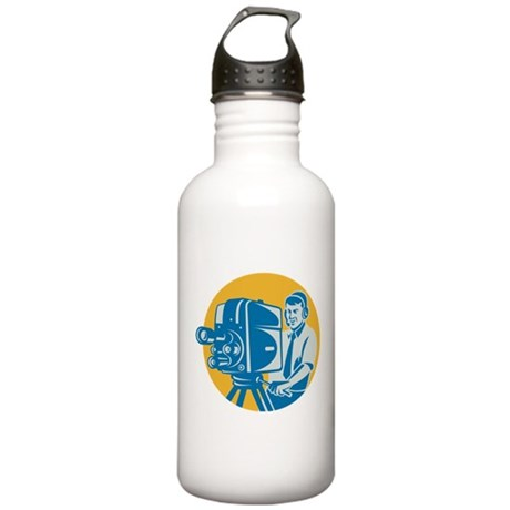 TV Cameraman retro Stainless Water Bottle 1.0L