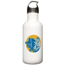 TV Cameraman retro Water Bottle
