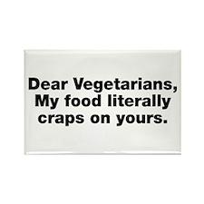 Dear Vegetarians Rectangle Magnet