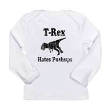 Vintage T-Rex hates Pushups Long Sleeve Infant T-S