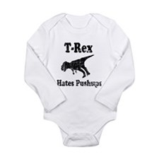 Vintage T-Rex hates Pushups Long Sleeve Infant Bod