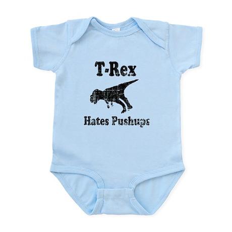 Vintage T-Rex hates Pushups Infant Bodysuit