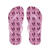 Boston Terrier Over the Line Plum Flip Flops