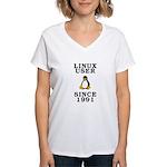 Linux user since 1991 - Women's V-Neck T-Shirt