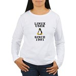 Linux user since 1991 - Women's Long Sleeve T-Shir